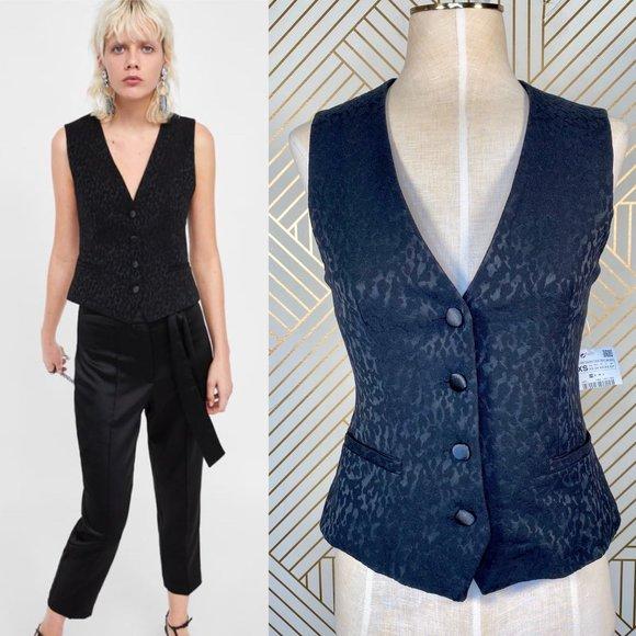 Zara Jackets & Blazers - Zara Animal Print Jacquard Vest Overcoat in Black
